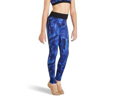 Kaia By Bloch Collection Girls Leggings for Dance, Gym, Acro Blue Print